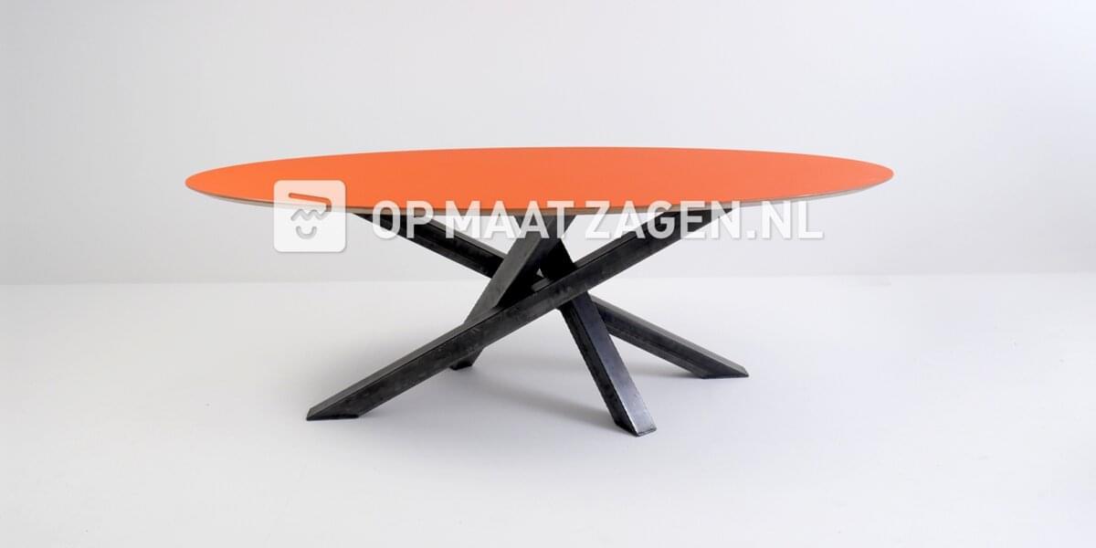Tafelblad op maat - Ovaal Forbo Orange Blast 220,0 x 100,0